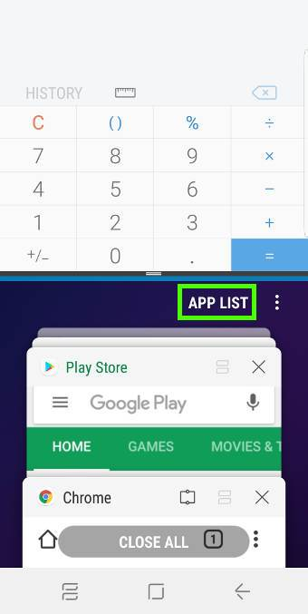 use split screen view of Multi Window on Galaxy S9 and S9+