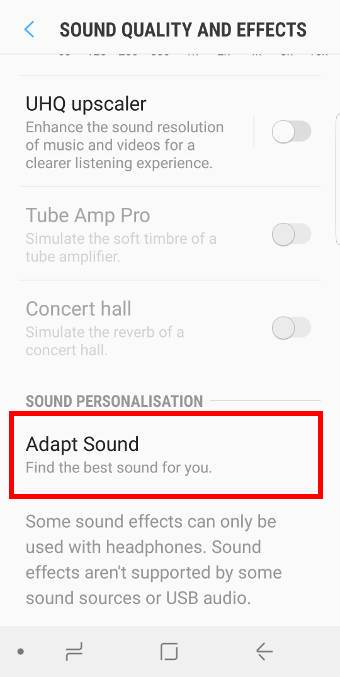 enable, customize and useadapt sound on Galaxy S9 and S9+