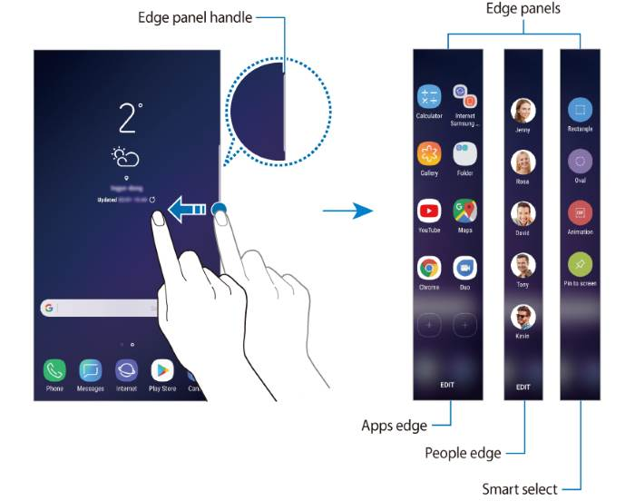 use edge screen panels on Galaxy S9 and S9+