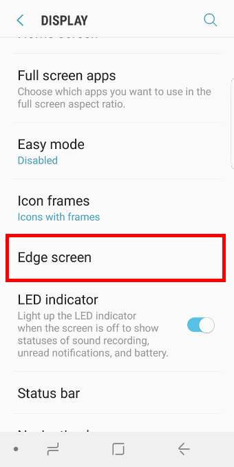 disable edge screen on Galaxy S9 and S9+