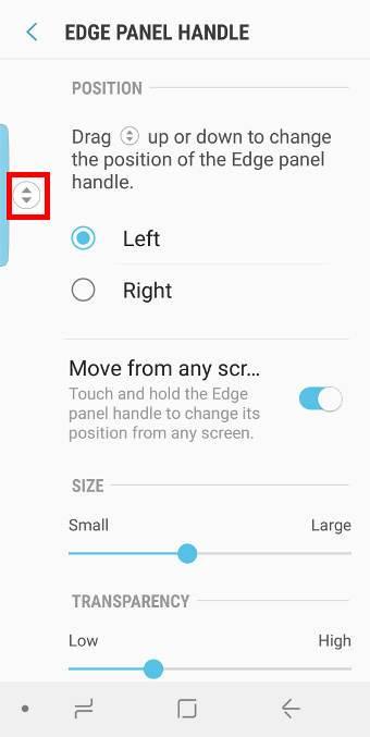 customize Galaxy S9 edge screen handle