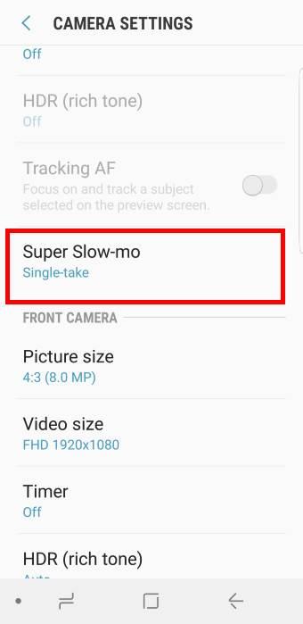 Galaxy S9 camera settings