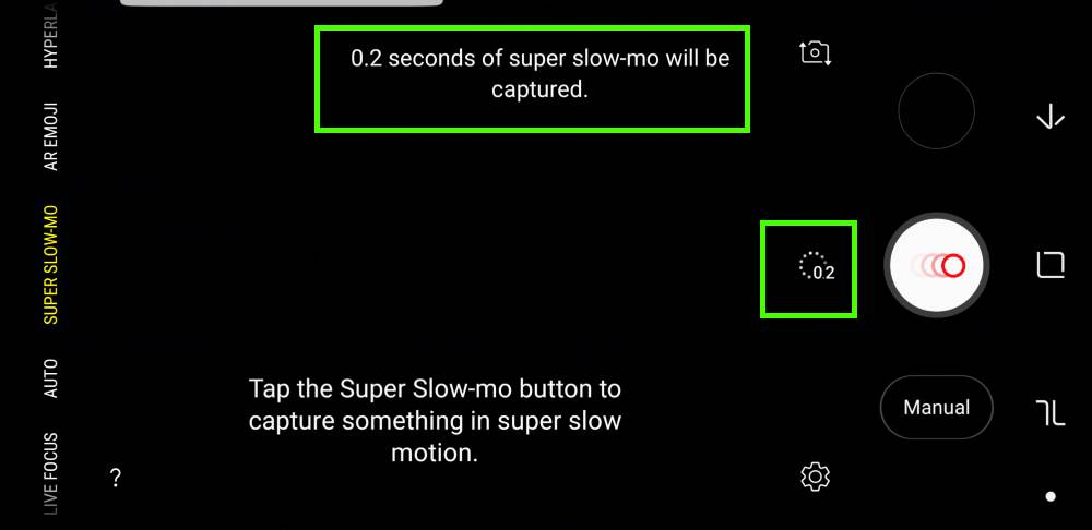 use super slow motion mode (super Slow-mo) on Galaxy S9 and S9+