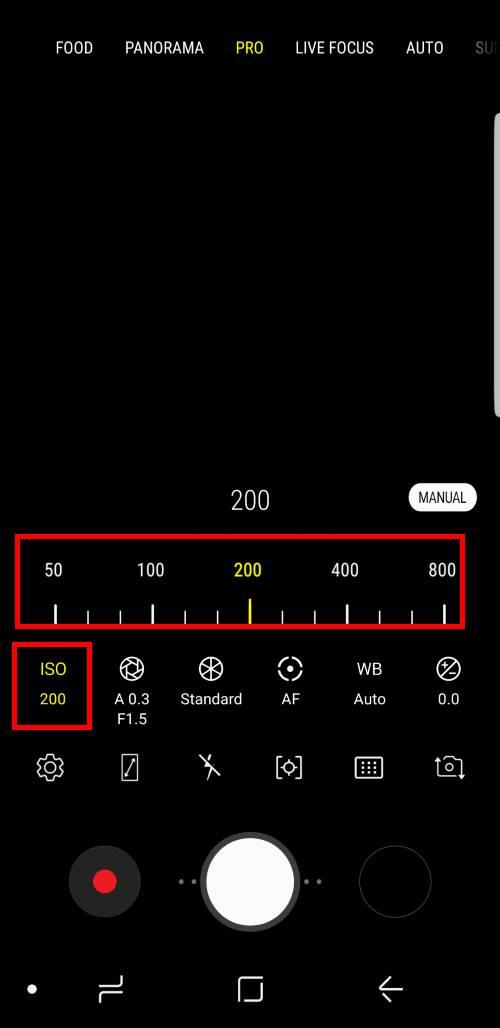 adjust settings forGalaxy S9 camera Pro mode