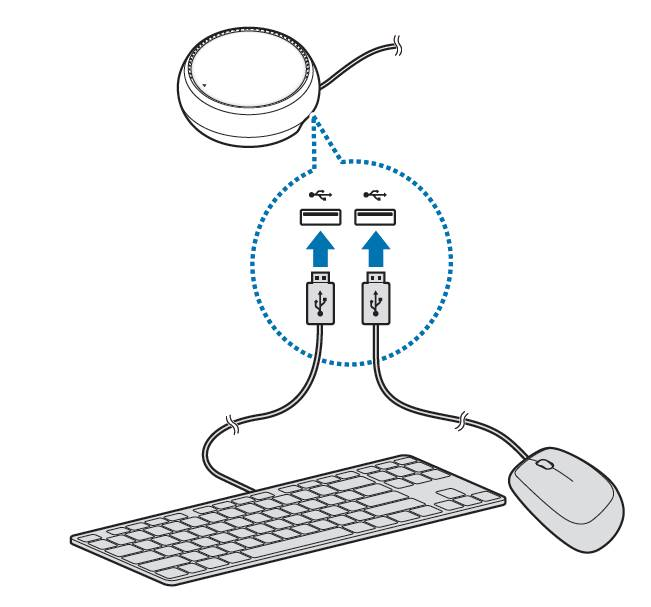Connect USB keyboard and mouse to Samsung DeX Station