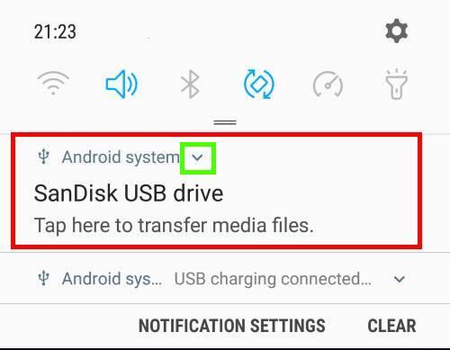 USB storage notification on Samsung phones
