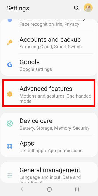 Galaxy S9 advanced features