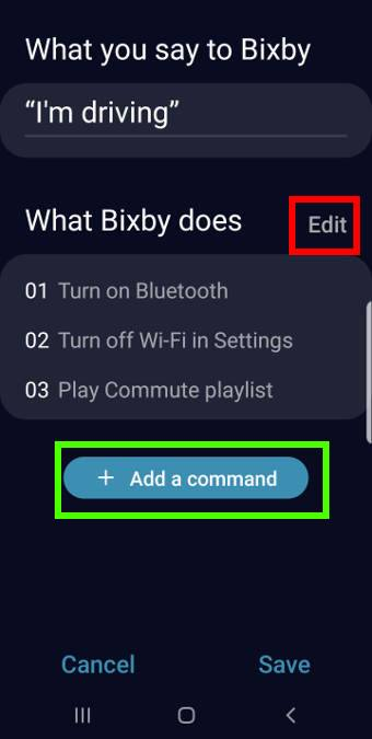 Create Bixby quick commands from the recommended quick commands